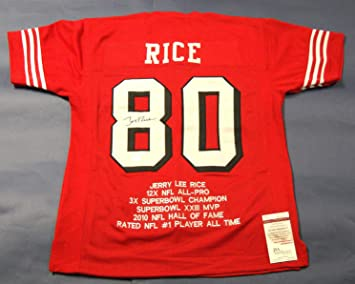 JERRY RICE AUTOGRAPHED SAN FRANCISCO 49ERS STAT JERSEY JSA at ... c48a2823f