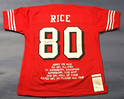 f628f0ba810 Image Unavailable. Image not available for. Color  JERRY RICE AUTOGRAPHED  SAN FRANCISCO 49ERS STAT JERSEY JSA