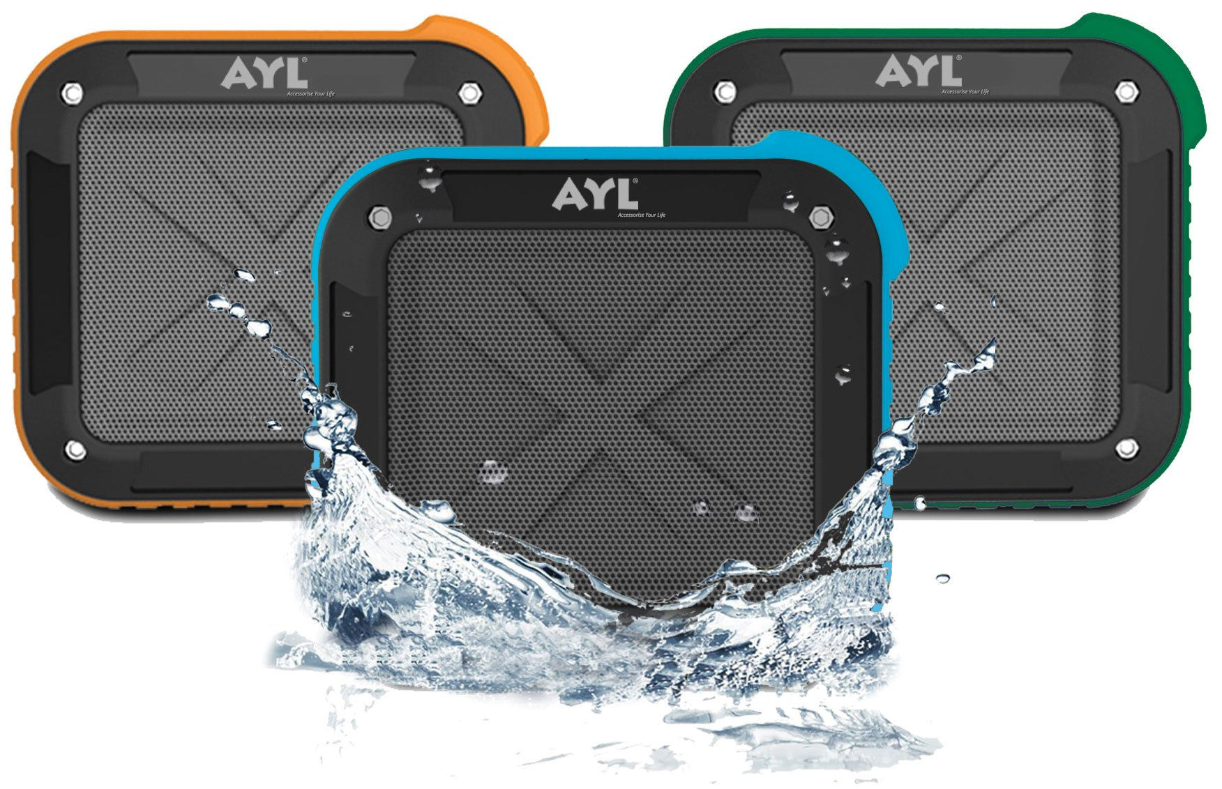 Portable Outdoor and Shower Bluetooth 4.1 Speaker by AYL SoundFit, Water Resistant, Wireless with 10 Hour Rechargeable Battery Life, Powerful Audio Driver, Pairs with All Bluetooth Device (Ocean Blue) by AYL (Image #2)