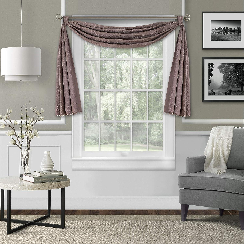 "New~Lovely LEILA Matelasse 52/""x144/"" Beaded Scarf Window Valance~Mauve//Taupe"