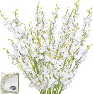 "Wootkey 6 Pcs 30"" Long Jasmine Artificial Flowers Faux Berries Fake Flower for Christmas New Year DIY Floral Art Plant Home Office Party Decoration (Dancing Lady Orchid Cream)"