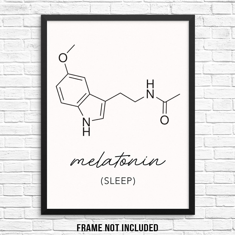 Melatonin Molecule Wall Art Print Sleep Molecular Structure Poster UNFRAMED Trendy Educational Artwork for Men's Womens' and Kid's Bedroom Decor or Science Classroom (11