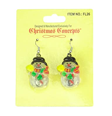 04447cf10 Light Up Christmas Earrings - Flashing Jewelry - Novelty Christmas Dress Up  (SNOWMAN)