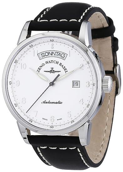Zeno Watch Basel Magellano 6069DD-e2 - Reloj de caballero automático, correa de piel color negro: Amazon.es: Relojes