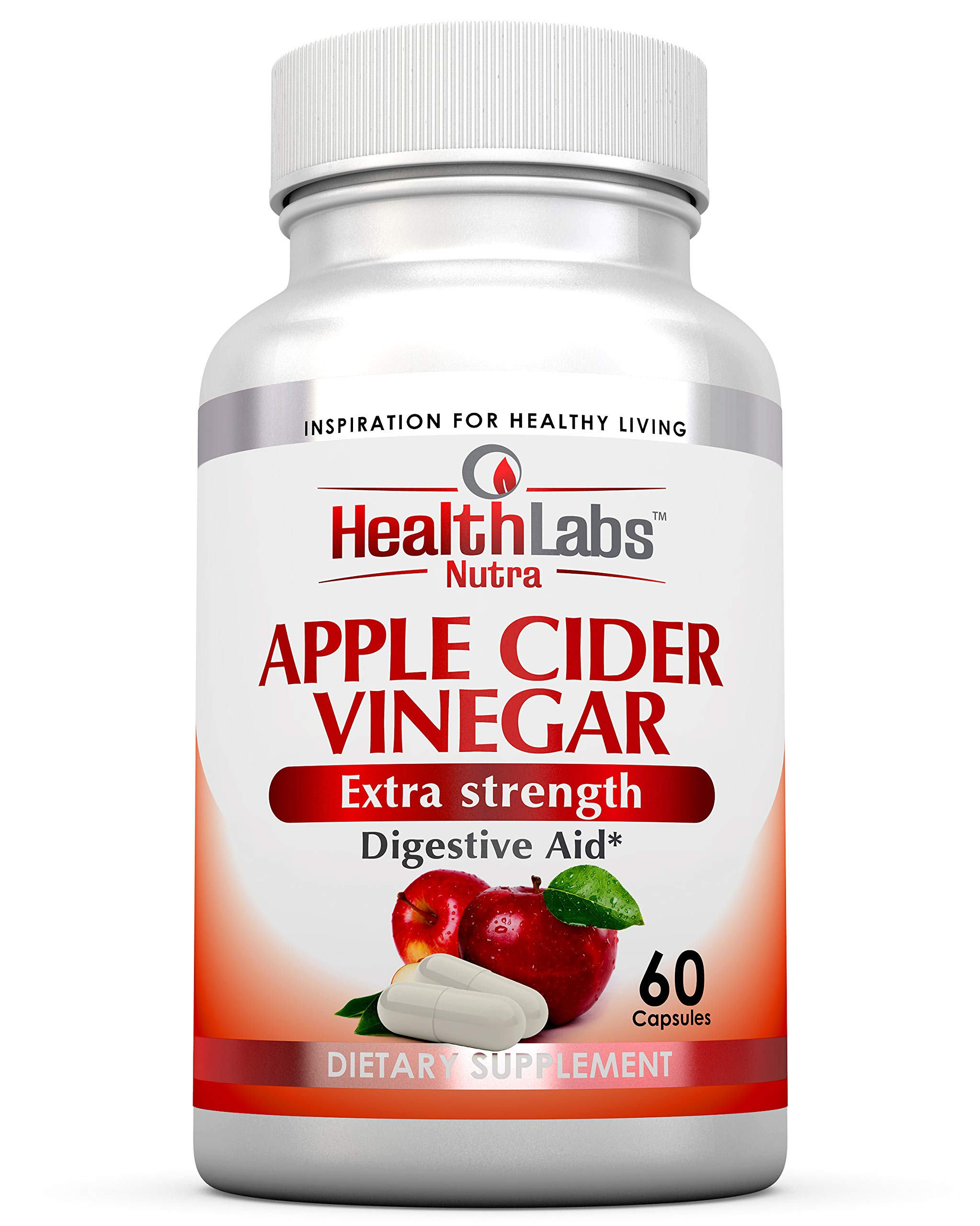 Health Labs Nutra Apple Cider Vinegar Capsules (1300 mg) Non-GMO, Gluten Free, Vegan | Natural | Made in The USA | Pack of 6 by Health Labs Nutra