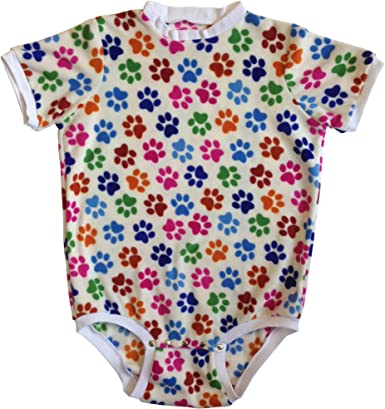 Cuddlz Short Paw Print Pattern Fleece Adult Sized Body Suit