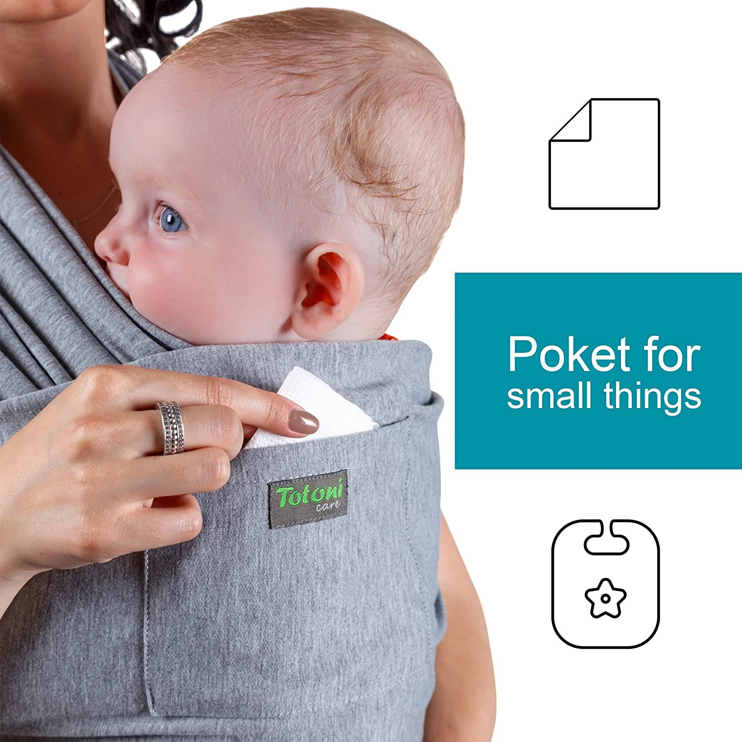 29e4e2415ef Amazon.com   Baby Wrap Carrier - Baby Sling up to 35 lbs - Infant Wrap -  Newborn Baby Carrier Sling - Baby Carrier Wrap and Sleepy Wrap for Toddler  ...