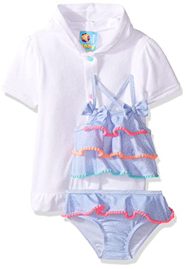 53eae0bd28ae2 Amazon.com  Baby Bunz Girls  Flower Applique Swimsuit With Terry Cover Up