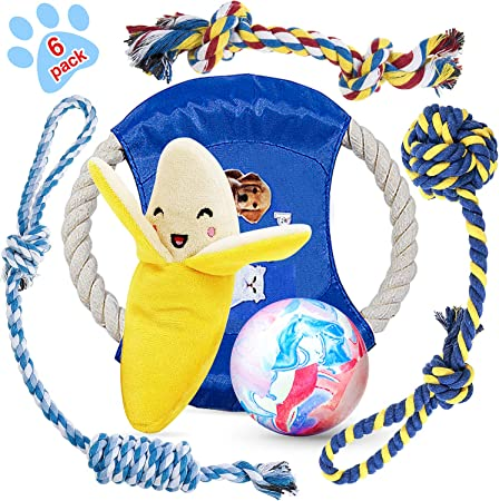 HETOO Puppy Toys,Dog Rope Toys for Boredom Teething Chew Tug Toys Set Washable Cotton Rope Dog Toys for Dogs 6 Pack