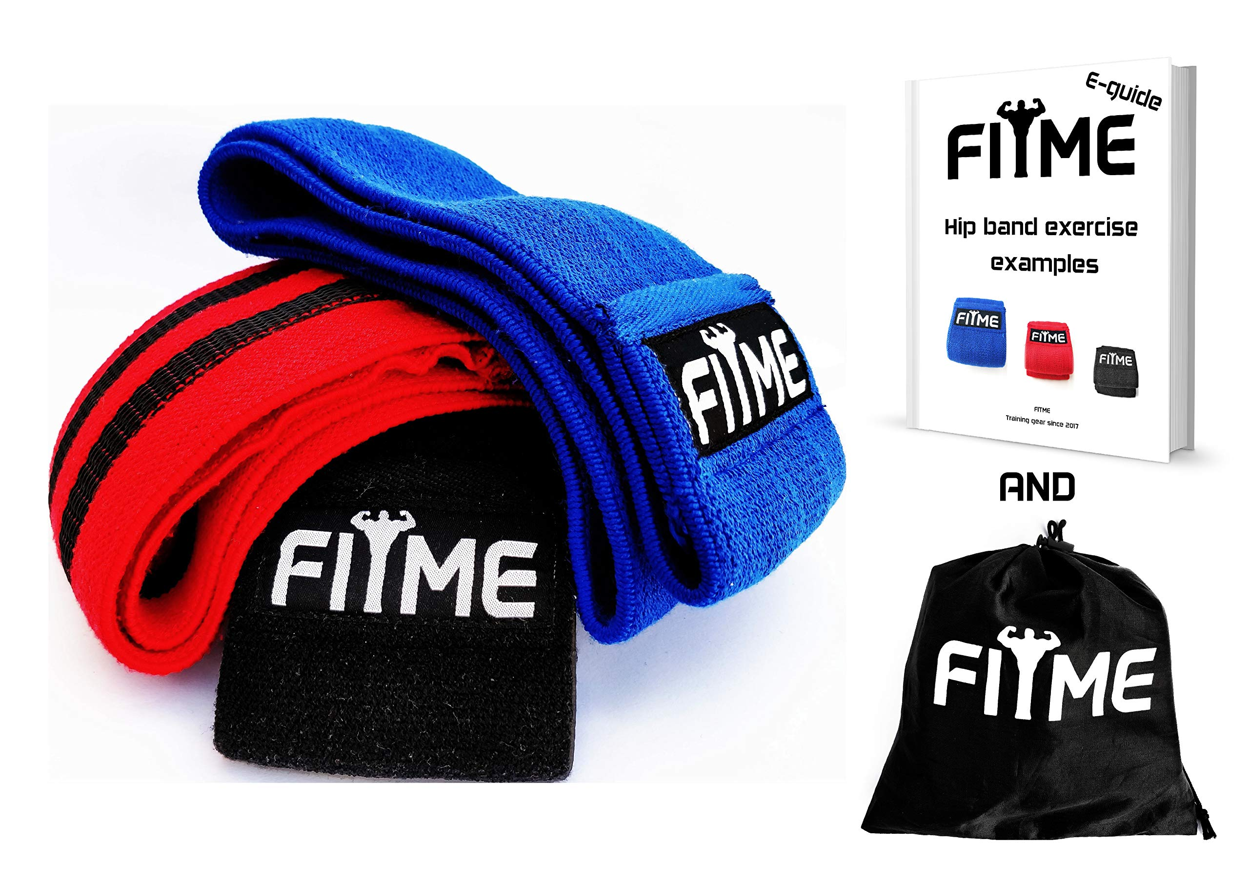 FITME Premium Exercise Resistance Workout Bands with Grip (Pack of 3 Sizes) - Exercise Guide and Carry Bag Included