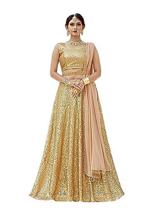 3b3efe29b0 Amazon.com: CRAZYBACHAT Latest Indian Designer Salwar Suits Net Golden  Color Embroidery Lehenga Choli: Clothing