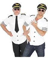 Foxxeo 40104 | Piloten Kostüm für Herren Piloten Karneval Fasching Pilotenkostüm weiß Sexy Gr. M-XL, Größe:XL