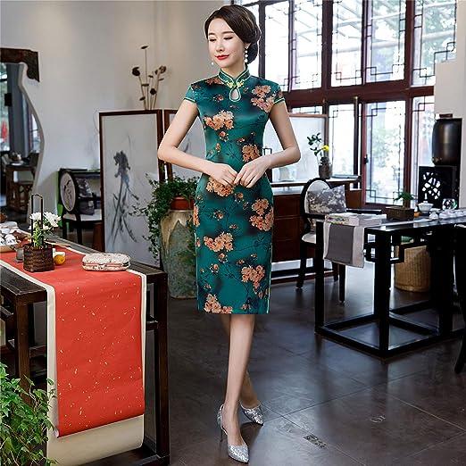 Abiti Da Sera Cinesi.Yan Abito Da Donna Vintage Fiore Stampa Cheongsam Abito Da Sera
