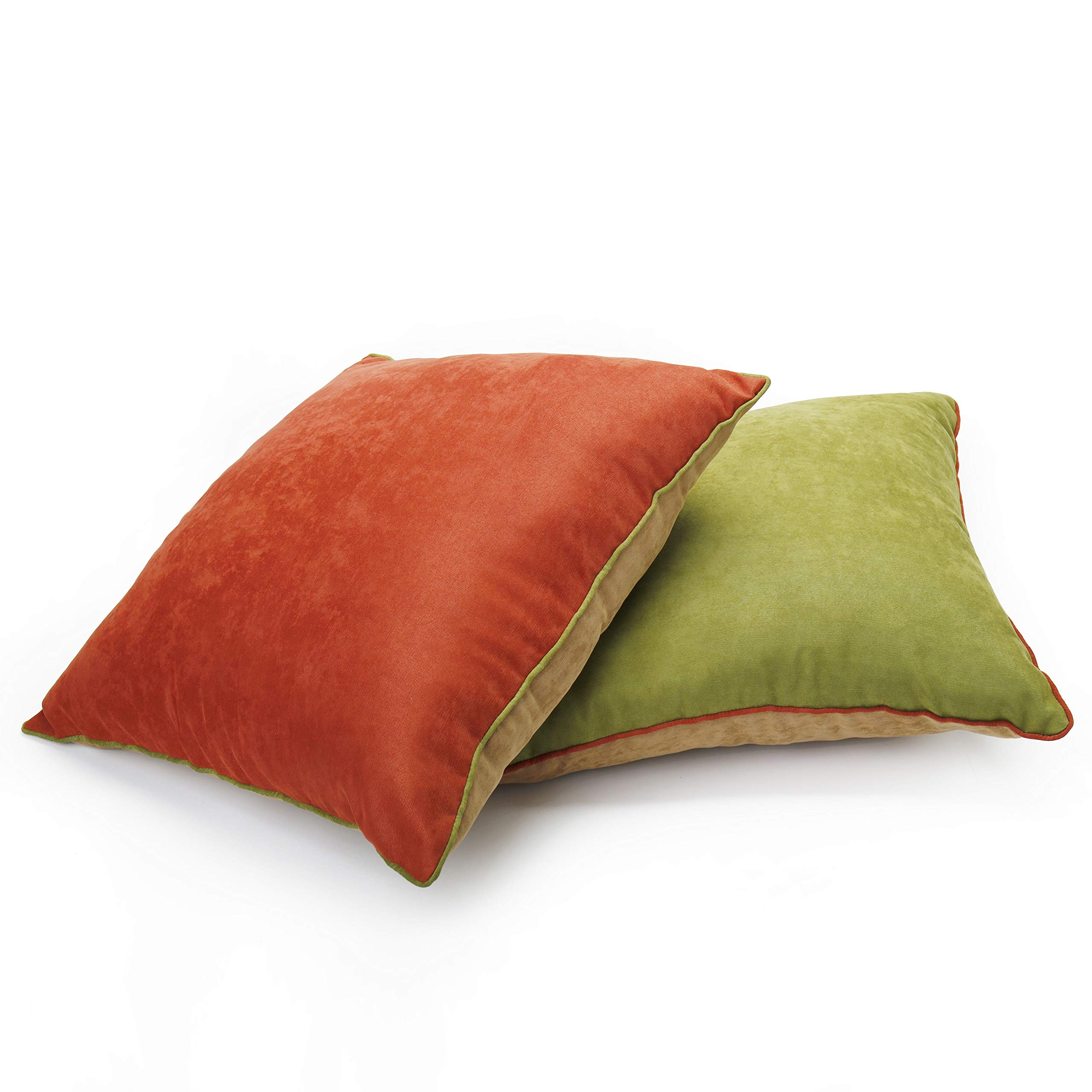 DOZZZ 2 Pack Reversible Corduroy Decorative Throw Pillows Square Cushion for Sofa Couch Bed Chair Country House 18'' x 18''