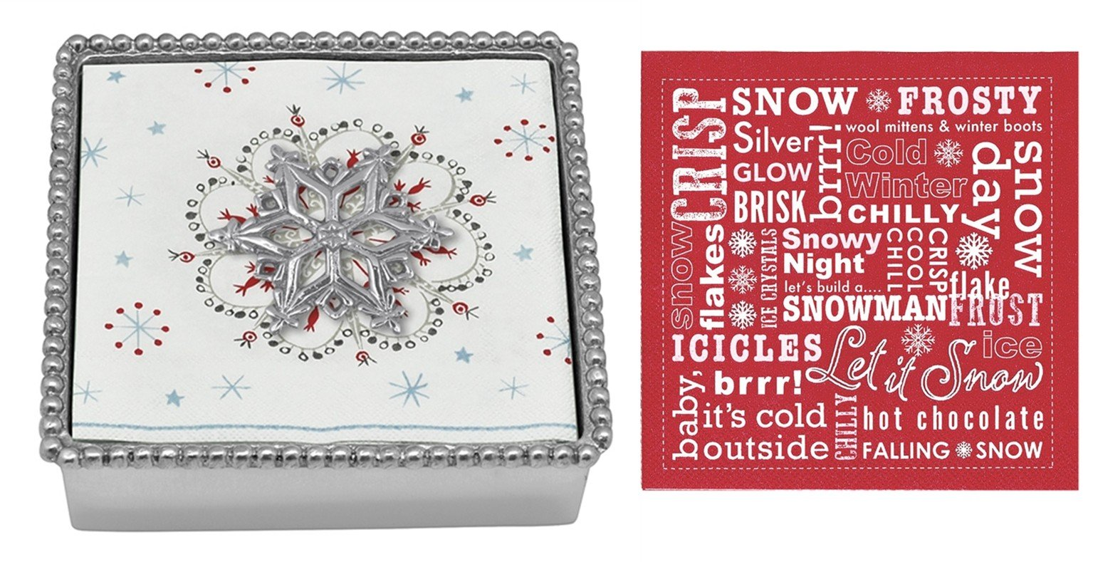 Mariposa Beaded Napkin Box with Open Snowflake Napkin Weight & 2 sets of Napkins by Mariposa