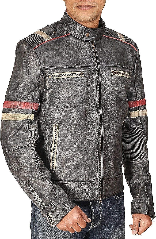 Men/'s Biker STYLE Vintage Black Distressed Stripes MOTO Retro 3 Leather Jacket