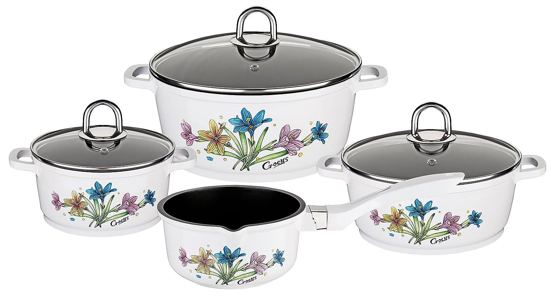 GSW Stahlwaren GmbH Cast Aluminium Flower Design Cookware Set, White/Black/Clear, 4-Piece 161015