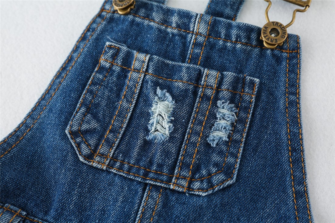 Chumhey Big&Little Girls 2Pc Big Bib Jeans Summer Shortalls Set T-Shirts,Blue,6-7 Years by Chumhey (Image #4)