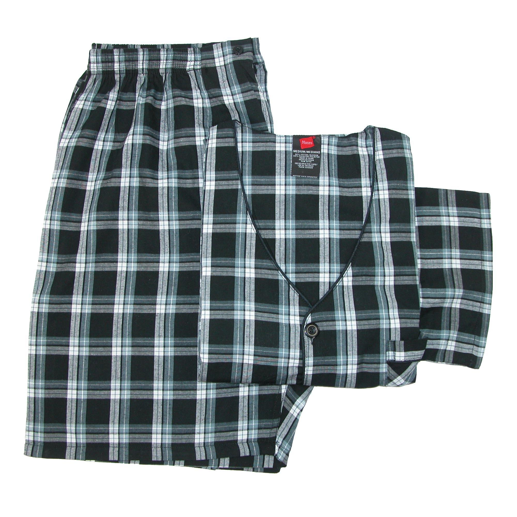 Hanes Men's Short Sleeve Short Leg Pajama Set, XL, Black