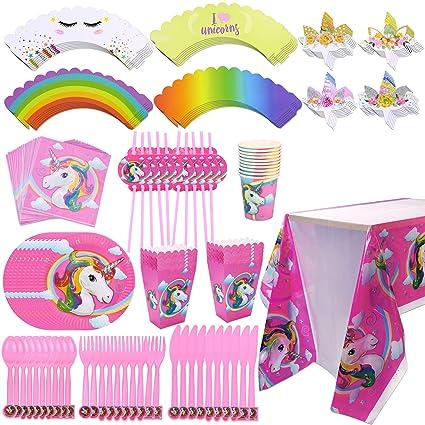 Konsait Unicorn Party Supplies Set Disposable Tableware,Cupcake  Toppers,Napkins,Straws,Popcorn Boxes,Tablecloth for Rainbow Unicorn Kids  Birthday