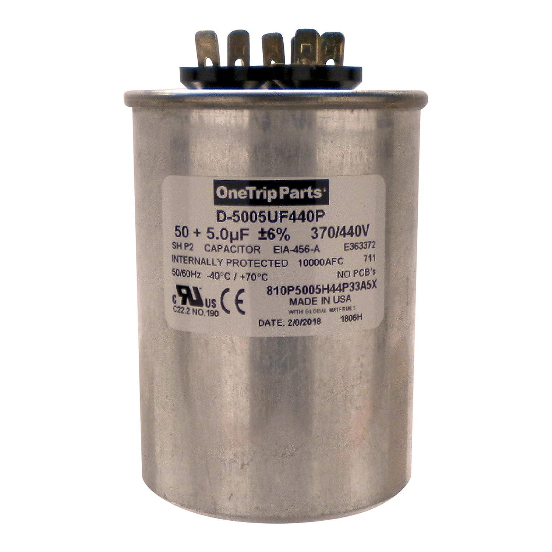 """Amazon.com: OneTrip Parts USA Run Capacitor 50+5 UF 50/5 MFD 370 VAC / 440  VAC 2-1/2"""" Round Heavy Duty: Home Improvement"""
