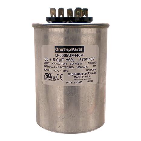 OneTrip Parts USA Run Capacitor 50+5 UF 50/5 MFD 370 VAC / 440 VAC on