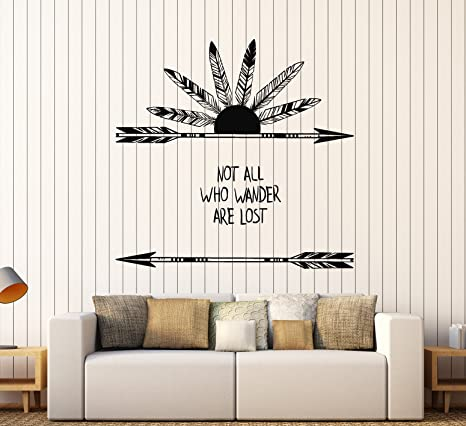 Vinyl Wall Decal Feathers Arrow Quote Ethnic Art Style Stickers Large Decor Ig3927 Gold Metallic Home Kitchen