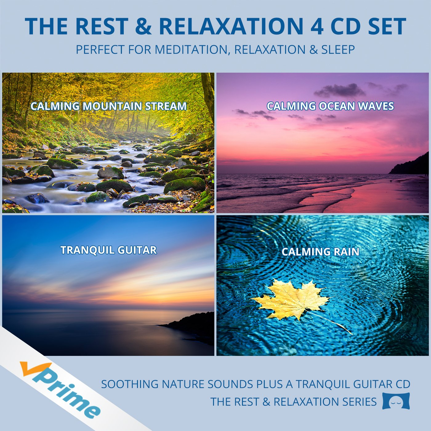 Relaxing Nature Sounds 4 CD Set - for Meditation, Relaxation and Sleep - Nature's Perfect White Noise - by The Rhythm Tree - The Rest and Relaxation Series