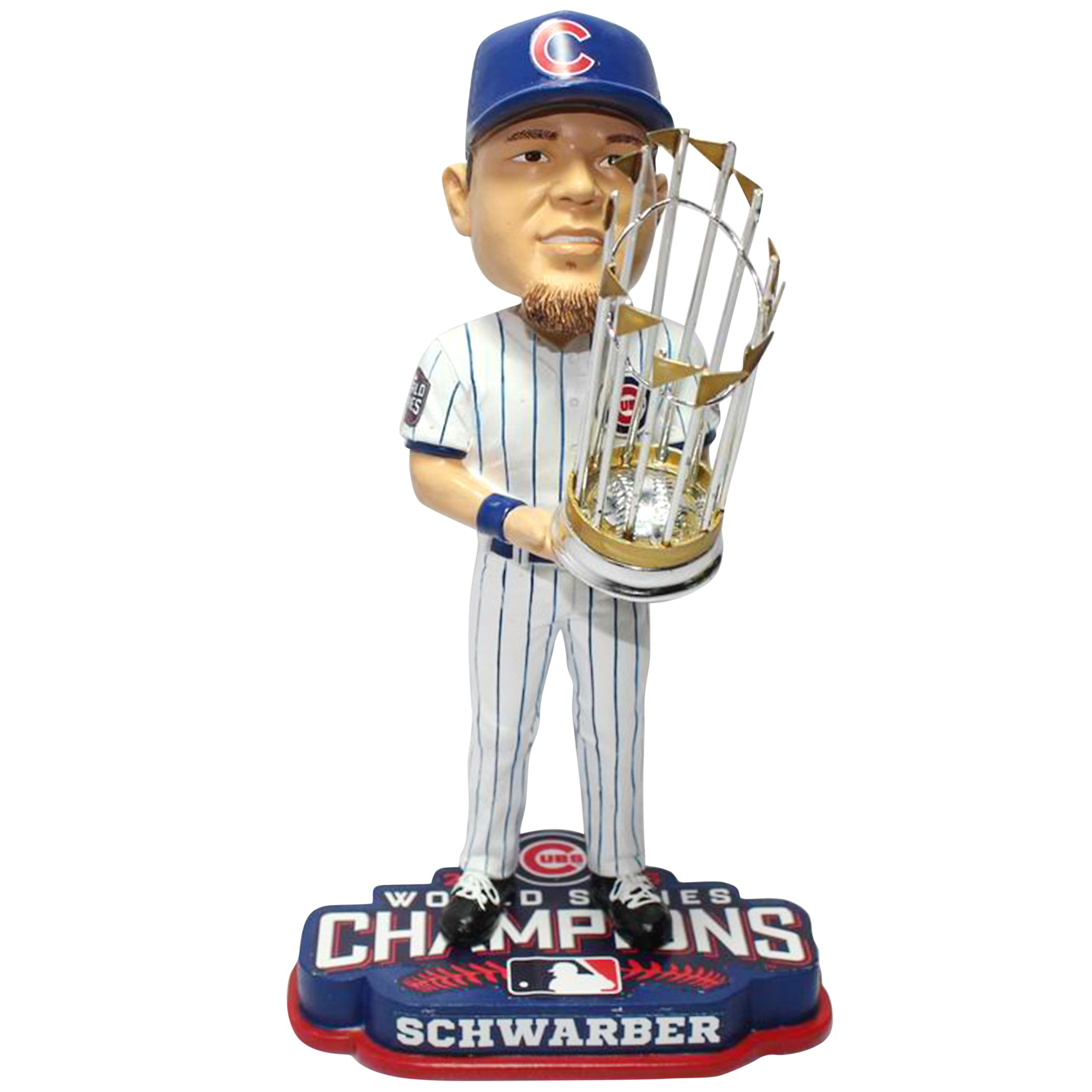 FOCO MLB Chicago Cubs Kyle Schwarber 2016 World Series Champions Bobblehead, White, 8'' by FOCO