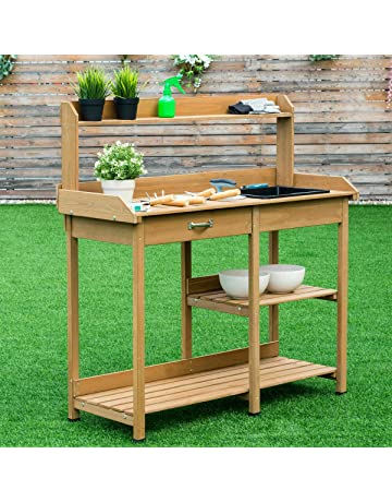 Zazza95shop New Outdoor Indoor Gardening Potting Table Bench Garden  Planting 2 Open Wood Shelves Large Drawer