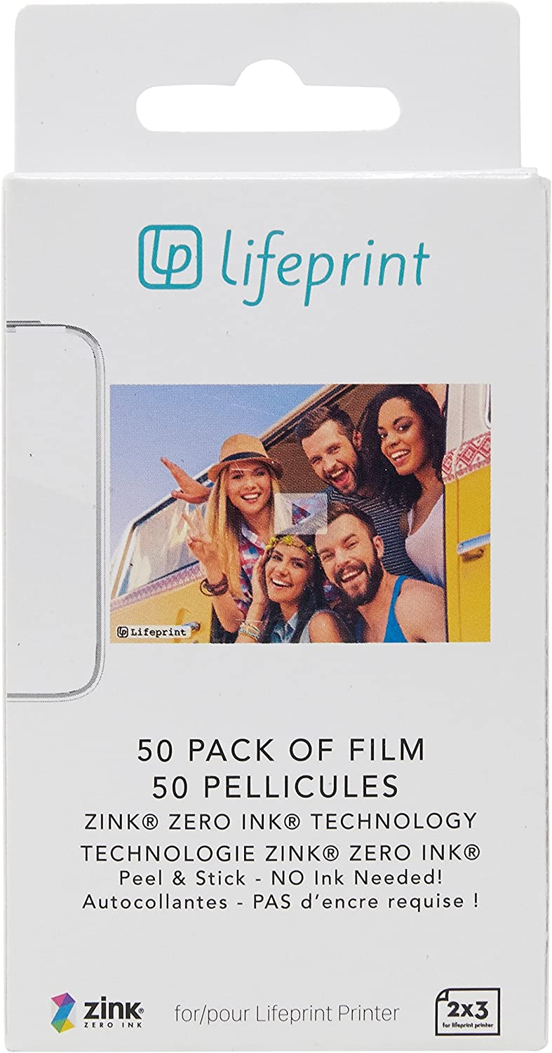 Lifeprint 50 pack of film for Lifeprint Augmented Reality Photo AND Video Printer. 2x3 Zero Ink sticky backed film