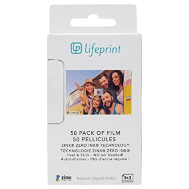 Lifeprint 50 pack of film for Lifeprint Augmented Reality Photo AND Video Printer. 2x3 Zero Ink sticky backed film (PH06)