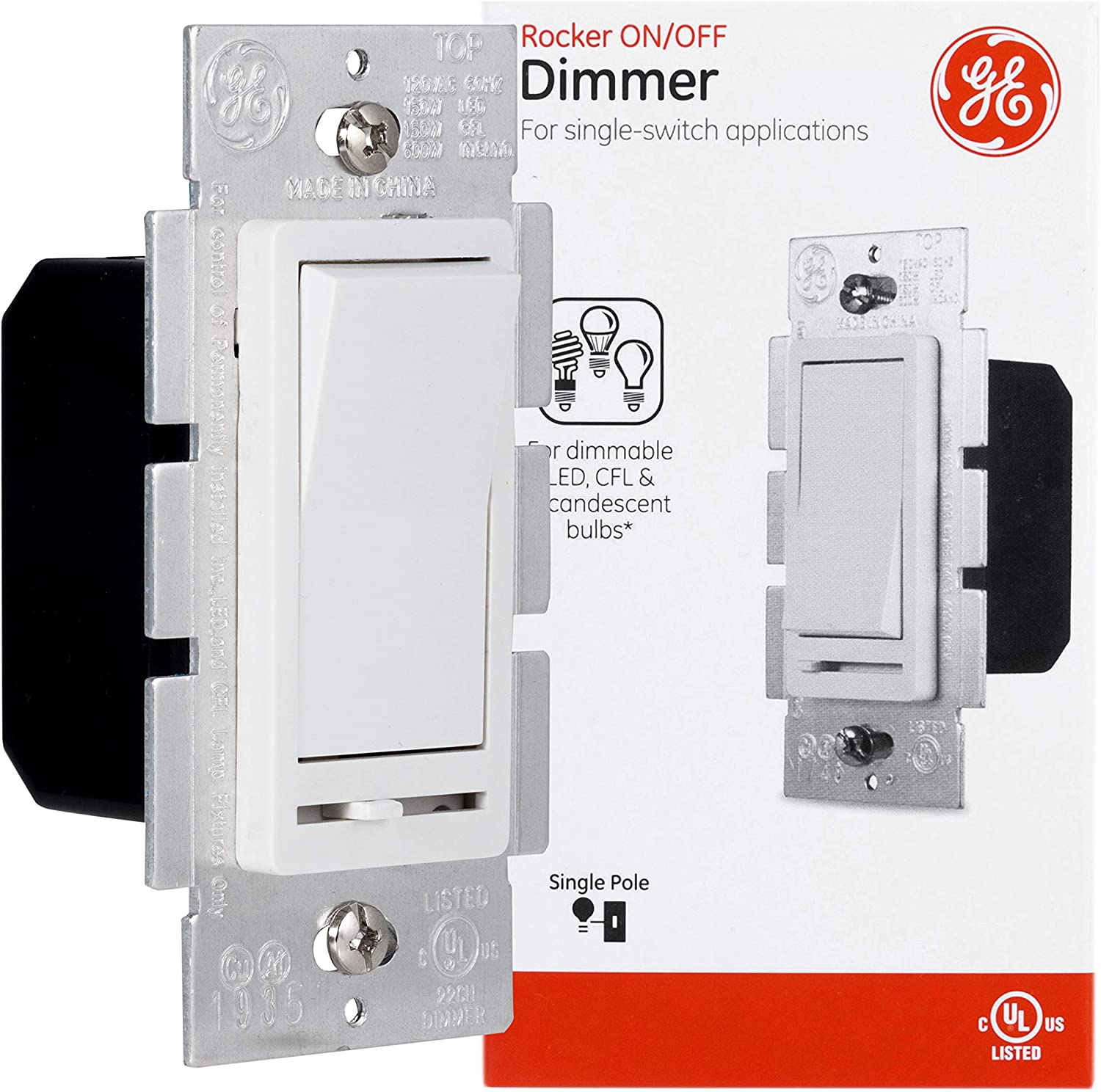 GE Slide Dimmer Rocker Wall Switch, Single Pole, For Dimmable LED, CFL, Incandescent Light, Bulbs, UL Listed, White, 10464, 1 Pack - -