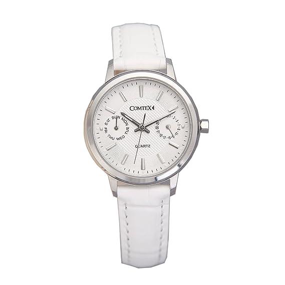 COMTEX de la mujer relojes correa de piel blanco/negro fecha analógico de cuarzo Fashion Sub Dial relojes