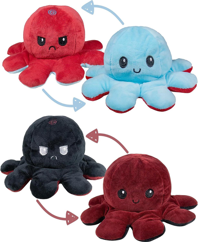 N / A 2 Piezas Reversible Muñeca Octopus Peluches, Lindo Pulpo Doble Cara Flip Muñeca Niños Familiares Amigos (Vino Tinto / Negro + Azul / Rojo)