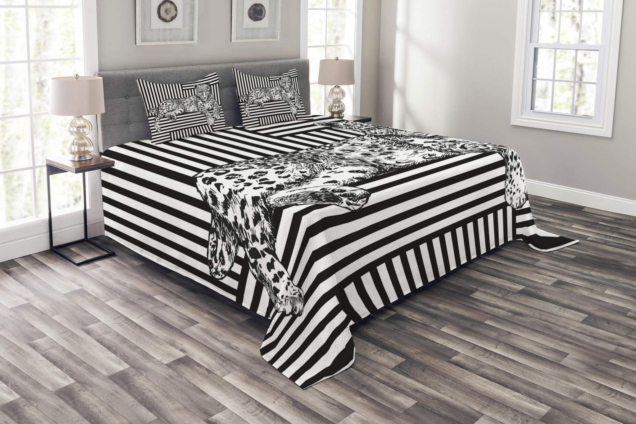 Lunarable Animal Bedspread Set Queen Size, Wildlife Theme The Leopard Lying on a Striped Background Illustration Print, Decorative Quilted 3 Piece Coverlet Set with 2 Pillow Shams, Black and White