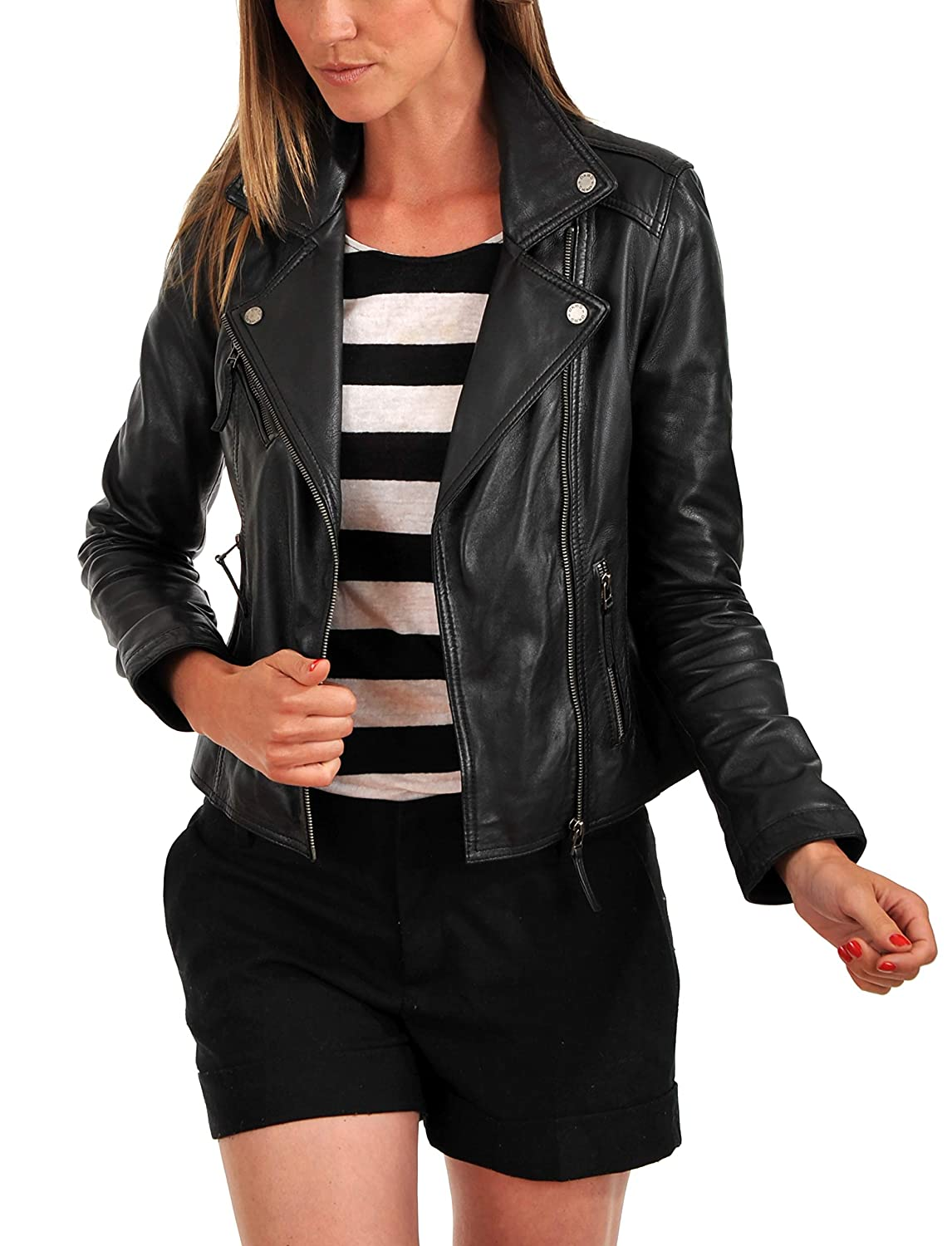 Black9fc DOLLY LAMB 100% Leather Jacket for Women  Slim Fit & Quilted  Moto, Bomber, Biker Winter Casual Wear