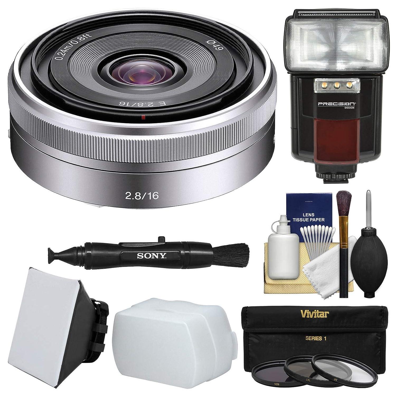Sonyアルファe-mount E 16 mm f / 2.8レンズとFlash +ソフトボックス+ディフューザー+ 3フィルタキットfor a7 , a7r, a7s Mark II、a5100、a6000、a6300カメラ   B01BT79ECC