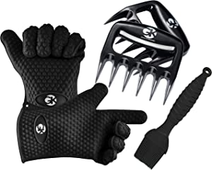 GK's 3 + 3 BBQ Man's Dream Set: Silicone BBQ Grill Gloves Plus Meat Shredder Claws Plus Silicone Basting Brush Plus 3 eBooks w/ 344 Recipes for Roasting, Grilling and Baking (Black)