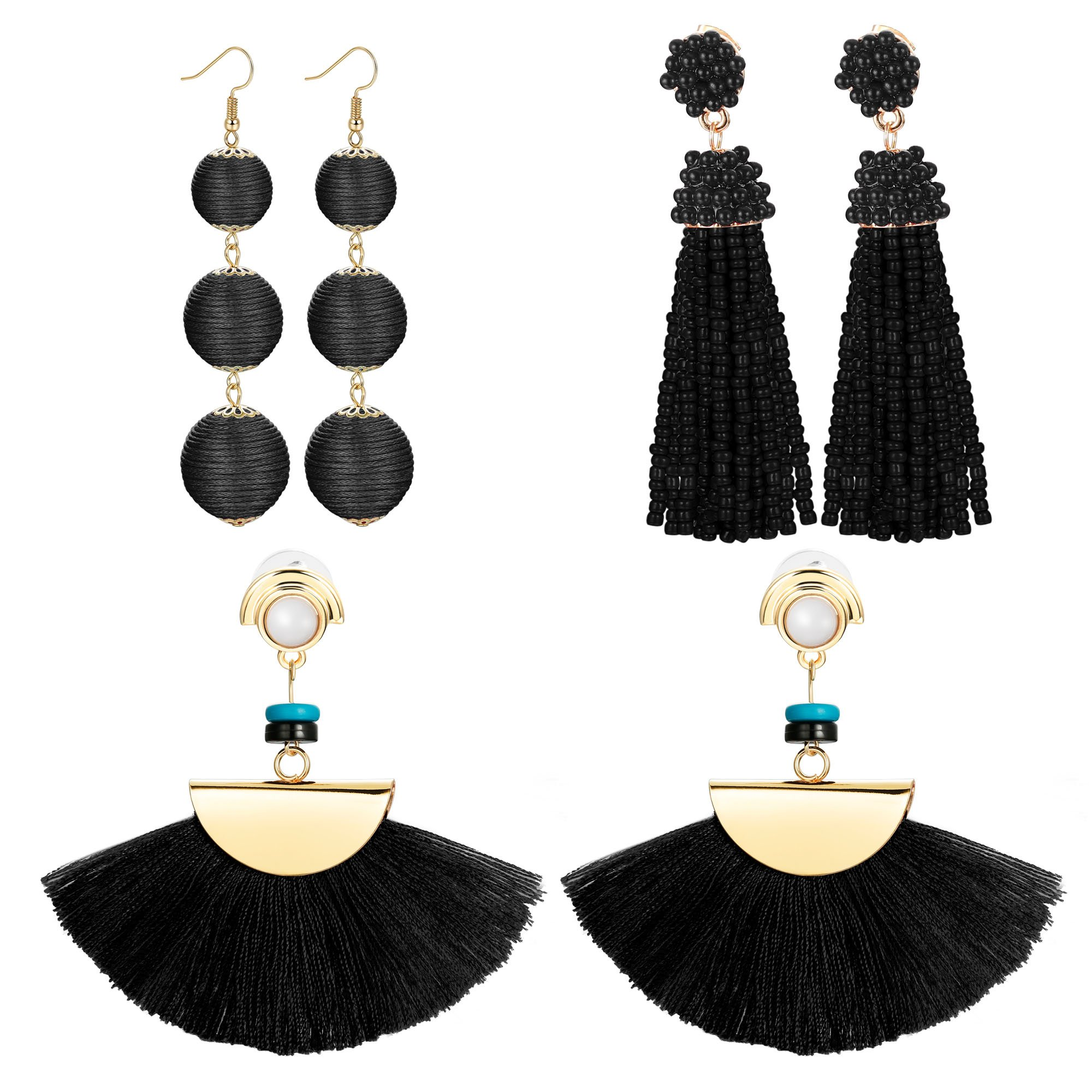 FIBO STEEL 3 Pairs Long Tassel Dangle Earrings for Women Girls Bead thread Drop Earrings