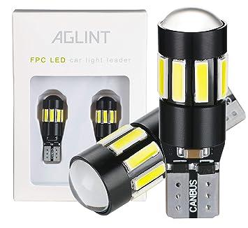 AGLINT 2x T10 T15 W5W W16W CANBUS Bombillas LED para exteriores 13 SMD Luz delantera del