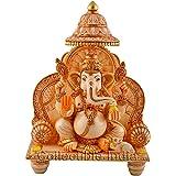 Collectible India Ganesha Murti Temple - GOLD Work White statue of Lord Ganesh Ganpati Elephant Hindu - Marble