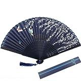 Kakoo Soie éventail pliant en bambou côtes Style japonais Sakura et papillons Motif Hand Held ventilateurs pour danse Cosplay fête de mariage Props Home Office Mur Décoration DIY Bleu