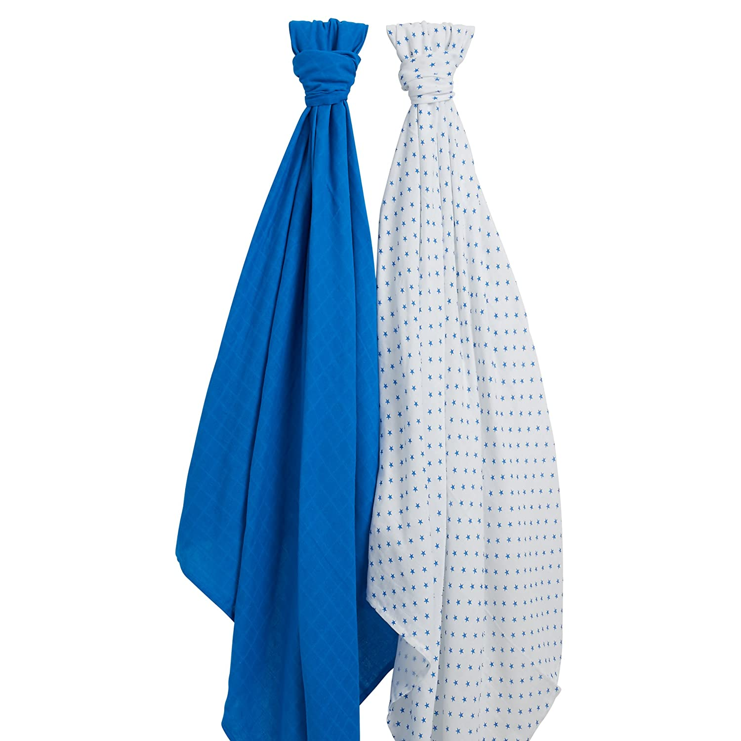 100% Cotton Muslin Swaddle Blankets from Lovjoy- blues- 120x120cm