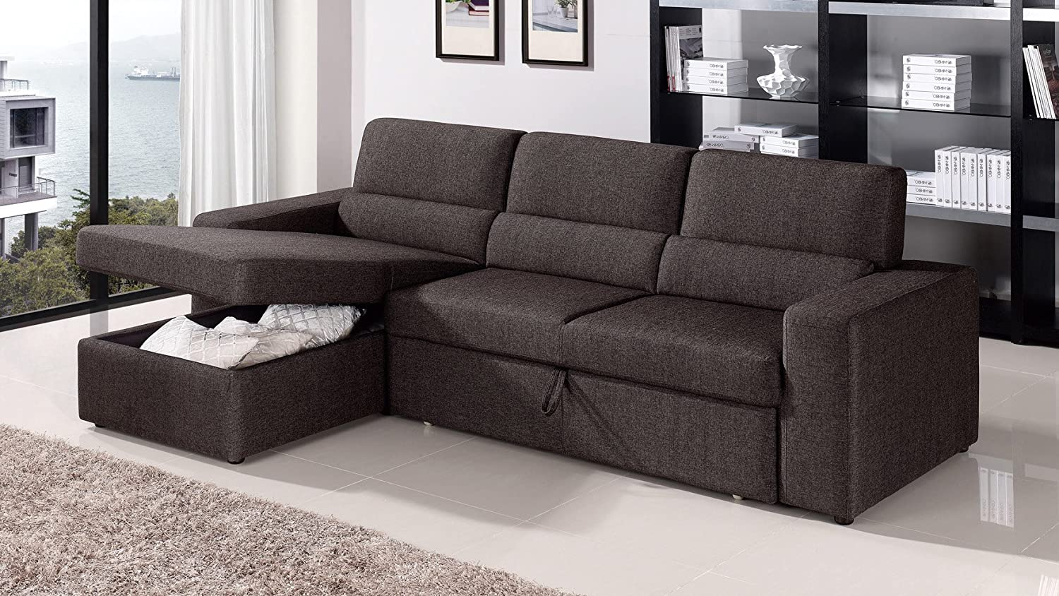Amazon.com Black/Brown Clubber Sleeper Sectional Sofa - Right Chaise Kitchen u0026 Dining : sleeper sofas with chaise - Sectionals, Sofas & Couches