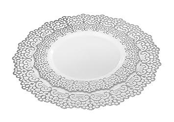 40 Piece (20 Guest) Elegant Disposable Plastic Dinnerware Plates Hard \u0026 Reusable  sc 1 st  Amazon.com & Amazon.com: 40 Piece (20 Guest) Elegant Disposable Plastic ...