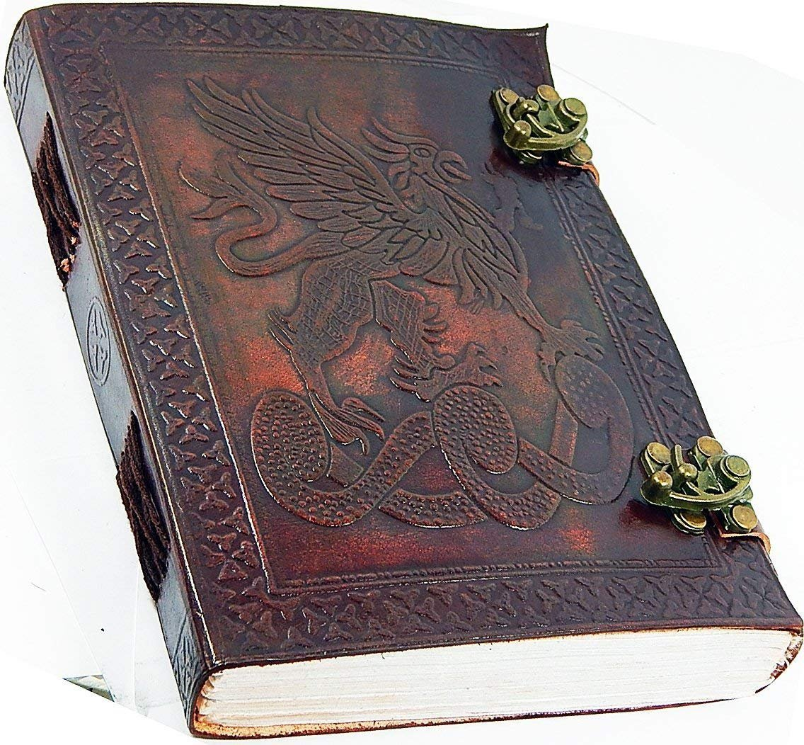 Handmade Large 8'' Embossed Leather Journal Celtic two latches blue stone blank personal Diary notebook refillable journal gift (design 3)