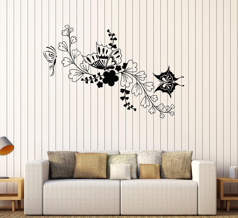Amazon Com Designtorefine Vinyl Wall Decal Sticker Nature Flowers Butterfly Floral Beauty Room Decor 671ig Dark Red Home Kitchen