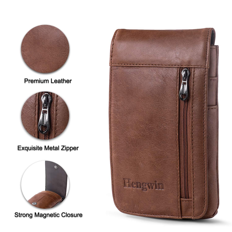 7d528b6729aa Amazon.com: Hengwin iPhone 7 Plus Belt Clip Pouch Leather Smartphone ...