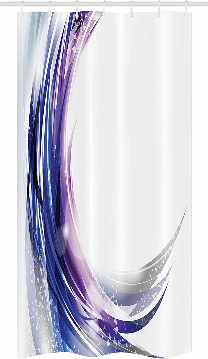 """Ambesonne Abstract Stall Shower Curtain, Cool Wave Like Ombre Design with Vibrant Color Dots Artwork, Fabric Bathroom Decor Set with Hooks, 36"""" X 72"""", Purple Blue"""